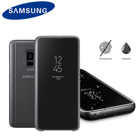 Orginal Samsung S9 Mirror Case For Samsung S9  G960  S9 Plus G965  Clear View Smart Leather Flip Stand Phone Shell Shockproof