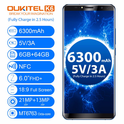 Oukitel K6 6.0'' 18:9 Full Screen MT6763 Octa Core Phone LTE 4G Smartphone Android 7.1 6GB RAM 64GB ROM Powerful Battery 6300mAh