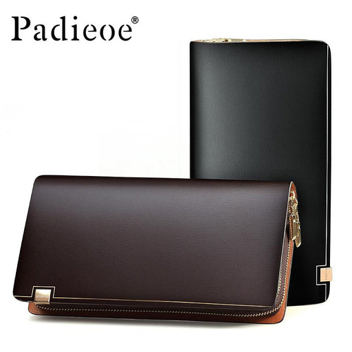 Padieoe Top quality Cattle Split Leather Unisex Wallet Fashion Casual Durable Man Purse Bag Luxury Big Capacity Women Wallet