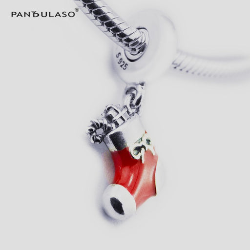 Pandulaso Christmas Stocking Red Pendants Silver Beads for Jewelry Making Women Charms Fit Original DIY Starter Silver Bracelets