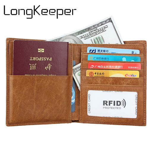 Passport wallet RFID BLOCKING top grain genuine cow Leather leather passport cover+ Identity Theft protection mens wallet 8235#