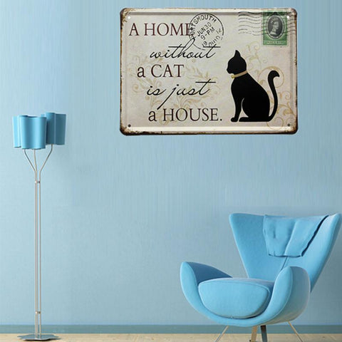 Personality Home Office Decorative Black Cat Tin Sign Stamp Tin ...