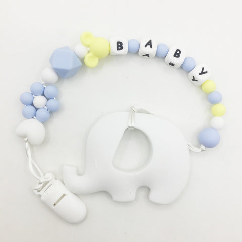 Personalized Name Silicone Teething Pacifier Clips with New elephant Silicone teether Pacifier Chain Necklace for  Baby Chew Toy