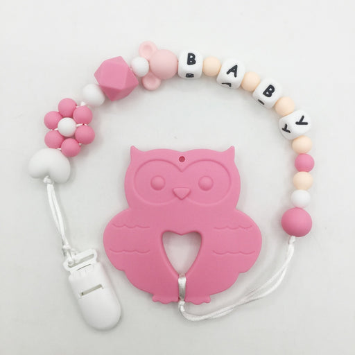 Personalized Name Silicone Teething Pacifier Clips with owl Silicone teether Pacifier Chain Necklace for  Baby Chew Toys