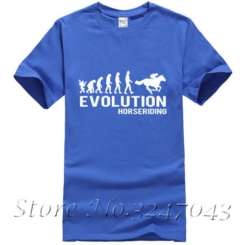 Personalized T-Shirt Personalized T Shirt Evolution Equestrian Horse Equestrian Horses Fun O-Neck Short-Sleeve Men