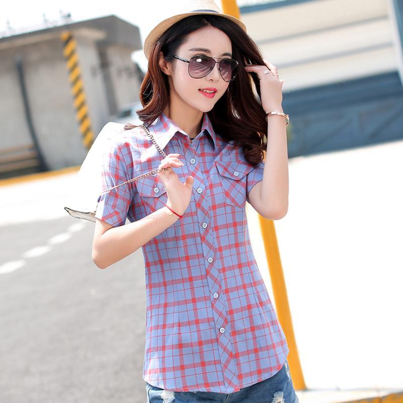 Plaid Women Shirts With Short Sleeves Cotton Blouses Shirt Turn Down C