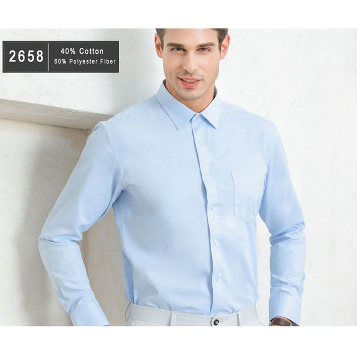 Plus Size 5XL Business Men Dress Shirt Pure Color Blue White Long Sleeve  Formal Office Work Clothing With Chest Pocket Men Shirt 1