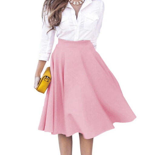 62be3ff061 Plus Size High Waisted Skirts Womens 2017 Summer Knee Length Solid Casual  Slim Pleated Skirts Pink