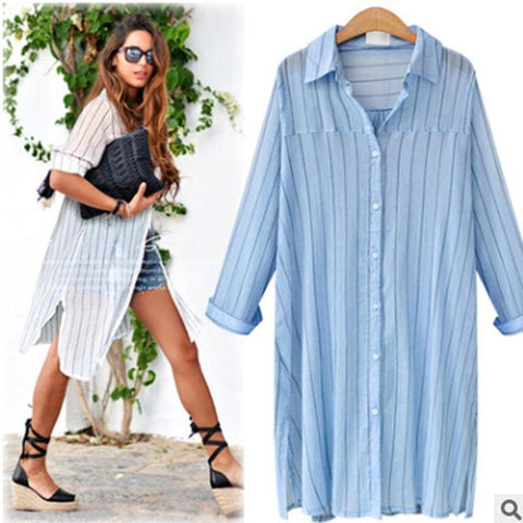 Plus Size M-3XL 2016 Autumn Women New Fashion Cardigan Shirt Big Yards Loose Long Paragraph Striped Shirt AXD1511