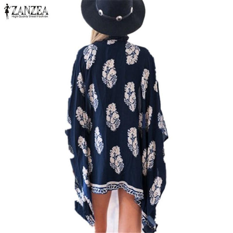 Plus Size S-4XL 2017 Summer Style Women Casual Loose Bat Half Sleeve Blouses Tops Jackets Print Kimono Cardigan Coats Outwear