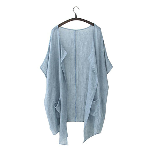 Plus Size Summer Sunscreen Solid Women Blouse Loose Cotton Linen Cardigans Sun Protection Long Cardigans Blouses