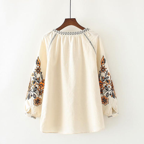 Plus Size Women Clothing Long Sleeve Cotton and Linen Blouse Shirt Casual Loose Beige Cape Shirts Cardigans Ethnic Tops Blusas