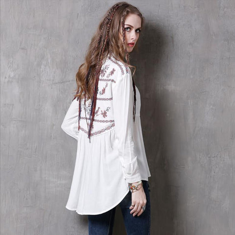Plus Size Women Clothing SIPAIYA 2017 Female Embroidery White Cardigan Shirt Single Breasted Irregular Retro Blouse Shirt