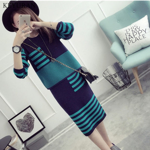 Plus Size XL-4XL New Women Striped Knitwear Suits O-neck Long Sleeve Knitted Crop Tops + Tight Hip Bodycon Skirt Knitting Sets