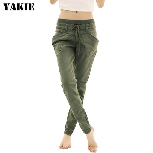 Plus size S-XXXL 2016 spring summer women's harem pants loose casual  trousers cotton linen elastic high waist women pants