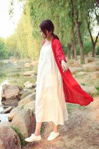 Plus size White Linen Women Long Blouses Shirt Solid Red Loose Casual Kimono Shirts Blouse Vintage Linen Cardigan Tops C002