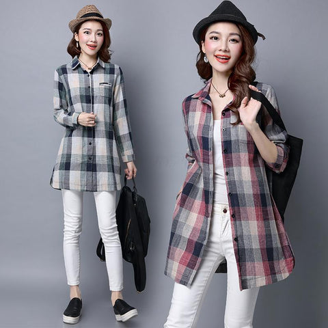Plus size Women clothing 2016 autumn spring kimono cardigan Plaid Shirts ladies Long Sleeve Linen Cotton tops and blouses blusas