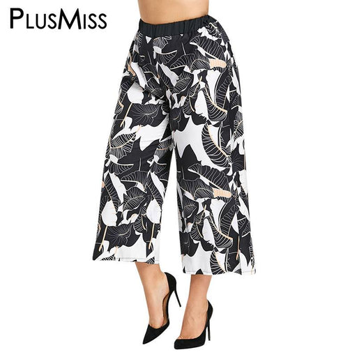 PlusMiss Plus Size 5XL Leaf Print Boho Wide Leg Palazzo Pants Capris Women Elastic High Waist Trousers Loose Pant Pantalon Femme