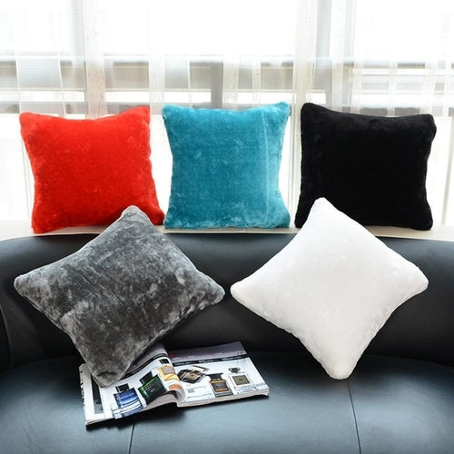 Plush Pillow Sofa Waist Throw Cushion Cover Home