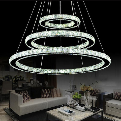 Popular Diamond Ring LED Crystal Pendant Light Modern LED Circles Hanging Lamp Foyer Dining Room Lighting