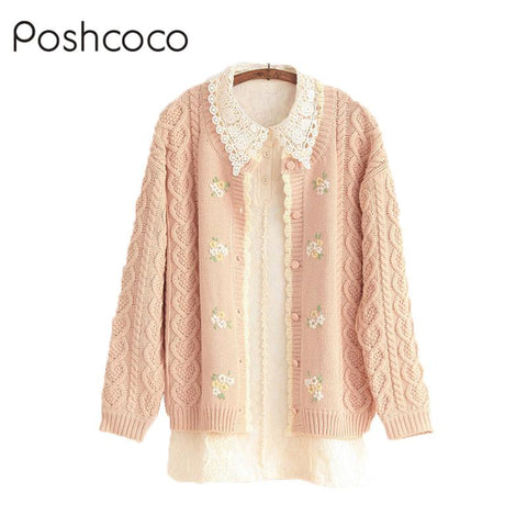 Poshcoco Mori Girl Casual Cute Wave Edge Knitted Women Cardigan Sweater 2017 Autumn Winter Long Sleeve O neck Floral Embroidery