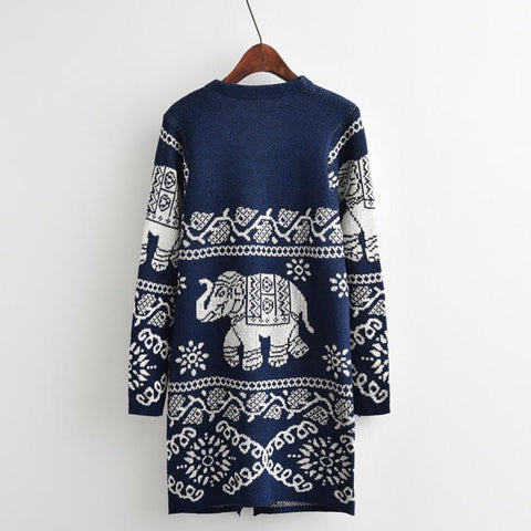 Print Elephant Long Cardigan Women Autumn Indian Knitted Sweater Plus Size Long Sleeve Poncho Dark Blue Feminino Inverno Pockets