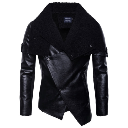 Punk Solid Winter Jacket Men Turn-down Collar Solid Faux Leather Jacket Slim Black Bomber PU Leather Jacket