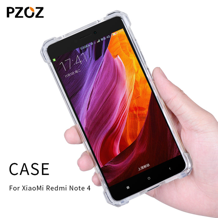 uk availability 30a72 aaf56 Pzoz redmi note 4 case silicone luxury shockproof xiaomi redmi note4 Cover  Transparent Clear Protective xiomi note 4 32GB 64GB