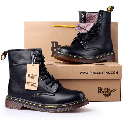 RAM Brand Men's Boots Martens Leather Winter Warm Shoes Motorcycle Mens Ankle Boot Doc Martins Autumn Men Oxfords Shoe