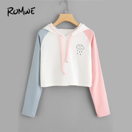 ROMWE Drawstring Rain Print Contrast Sleeve Crop Hoodie Women Casual Autumn Multicolor Pullovers Spring Long Sleeve Sweatshirt
