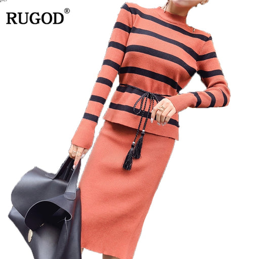 RUGOD Fashion Two Piece Set Knitted Women Suit Striped O-neck Long Sleeve Pollover With Sashes +Mid-Calf Solid Skirt