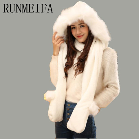 [RUNMEIFA]   2017 Winter Warm Women Hoodie Gloves Pocket Earflap Hat with fur trim Long Scarf Shawl Snood Wraps