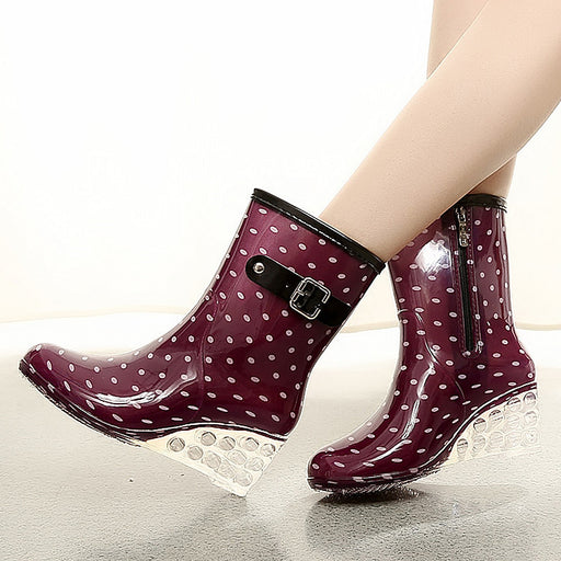 Rain boots zippers solid boots women lattice casual shoes woman waterproof rubber women boots fashion big one size 36-40