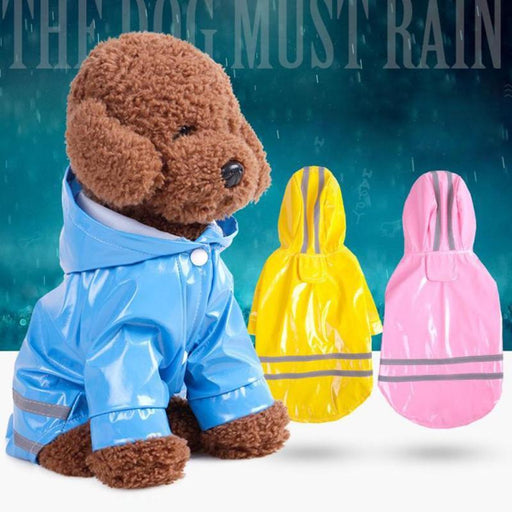 Raincoat for Pets Cat Dog Raincoat Hoodie Reflective PU Hood Pet Clothing Spring Summer Soft Durable Comfortable L30