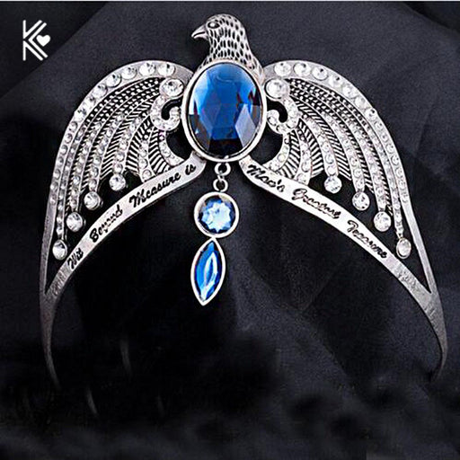 Ravenclaw Lose Crown Horcrux Bridal Hairbands Antique Silver Eagle Animal Blue Crystal Headbands Wedding Hair Accessories