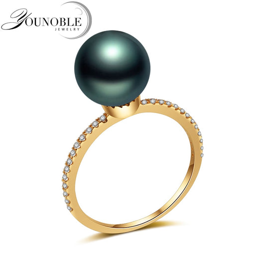 Real Wedding 18K Yellow Gold Rings Black Tahiti Pearl,Luxury Pearl Ring Fine Jewelry Anniversary Women Girls Gift