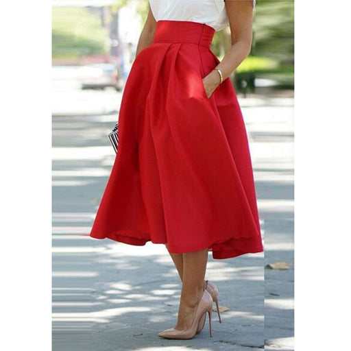 9829a43444 Red Color Vintage Women Stretch High Waist Skater Flared Pleated Swing Mid  Calf Long Skirts S