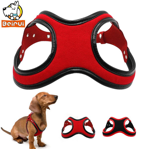 Rhinestone Leather Dog Harness Padded Puppy Pet Harness Vest For Small Medium Dogs Chihuahua Red Black S M L