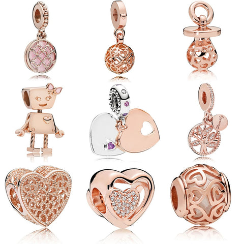 Rose gold series 925 sterling silver rose gold Harmonious Hearts Pacifier Hanging WITH ROMANCE OPENWORK&Hearts Filigree Charm
