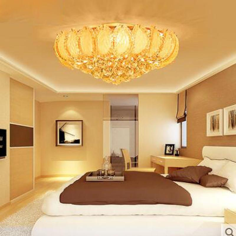 Round Bedroom Light Crystal Lamp Simple Ceiling Lamps Dining Room Living Study Lights Gold Lighting