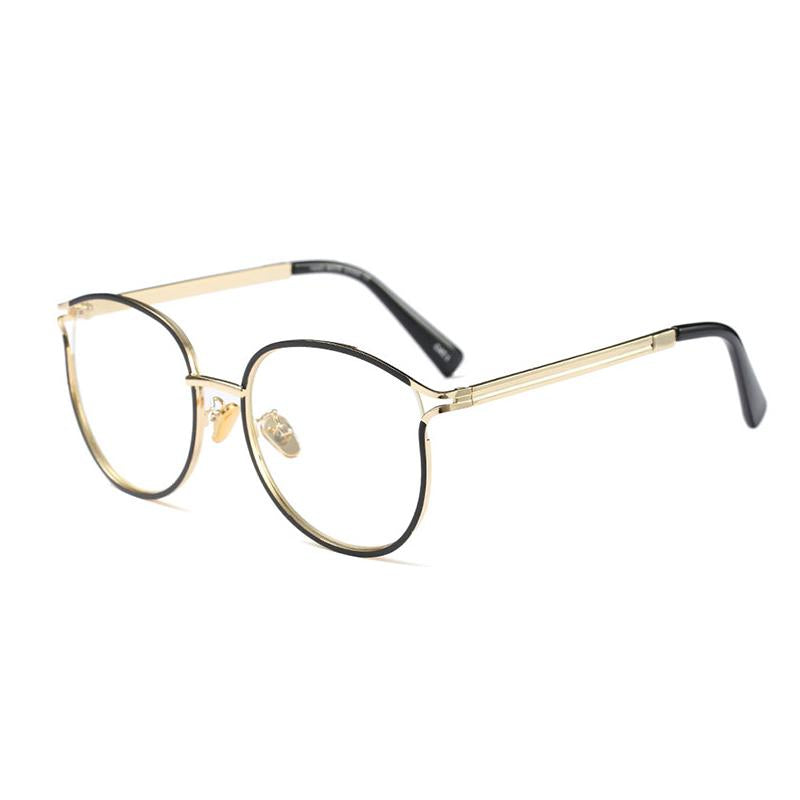 Round Glasses Clear Fashion Glasses Women Optical Gold Frame Alloy ...