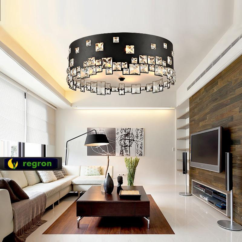 Round led crystal ceiling lamp fashionable black atmosphere living room lamps modern minimalist dining