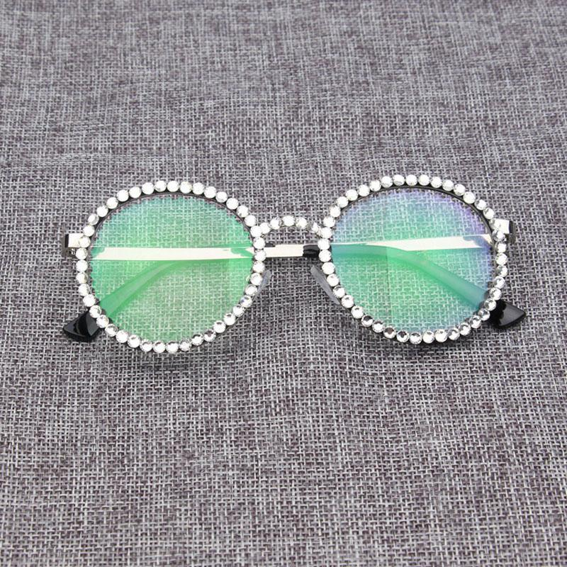 Round Clear Glasses Frames For Women Luxury Crystal Rhinestone Metal