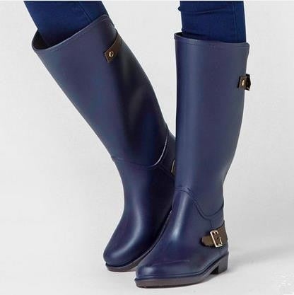 Rouroliu Women Knee-high Rain Boots Non-slip Tall Buckle Rainboots Waterproof Water Shoes Woman Wellies Large Shaft  ZM13