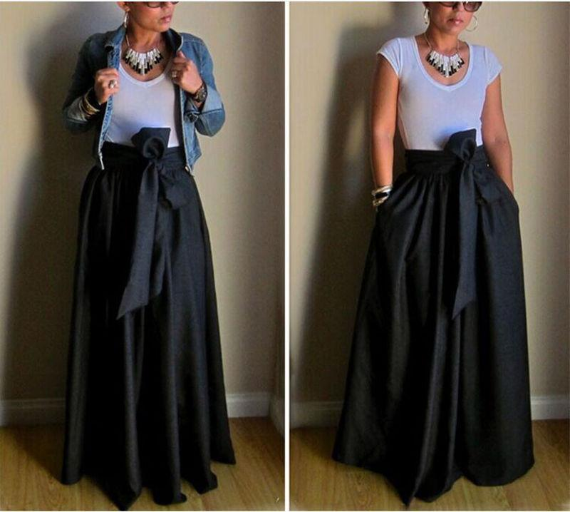 Runaway Maxi Skirts Womens Vintage 2017 Autumn Ball Gown Solid Black ...
