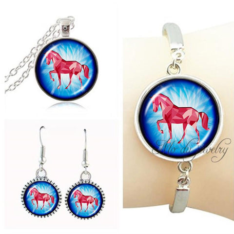 Running fire horse pendant necklace horse jewelry set glass dome art pendant nature animal photo necklace set equestrian jewelry