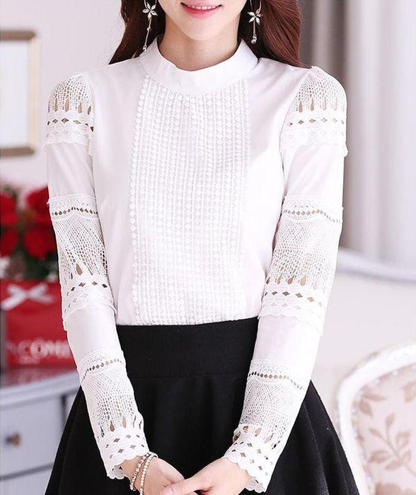 84a39e29d37b S-XXL Blusa Renda Elegant Lace Crochet Women Blouse Hollow Out Long Sleeve  White Blouse