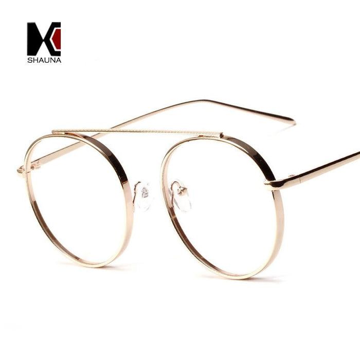 352f526b2b2ee SHAUNA Classic Women Round Glasses Frame Fashion Single Bridge Men Eyeglasses  Frame Anti-Blue Rays