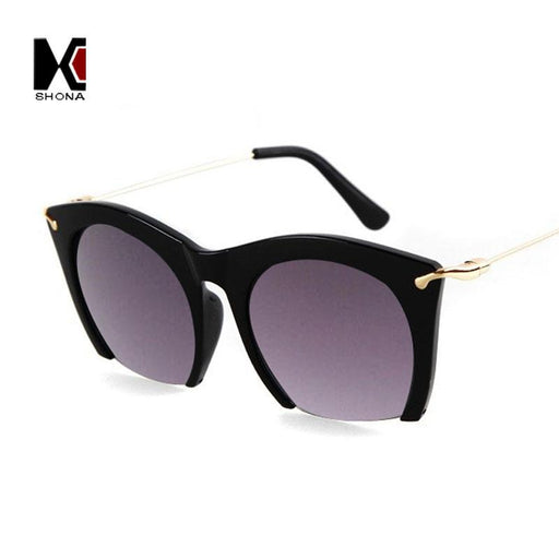 SHAUNA Fashion Women Cat Eye Sunglasses Retro Candy Color Half Frame Ladies Gradient Lens Glasses