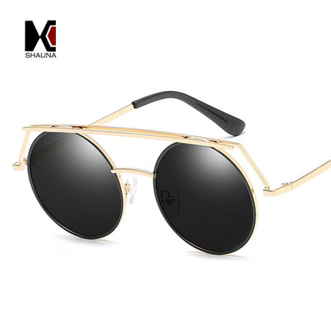 SHAUNA Retro Women Punk Sunglasses Fashion Men Flat Top Round Pink Mirror Coating